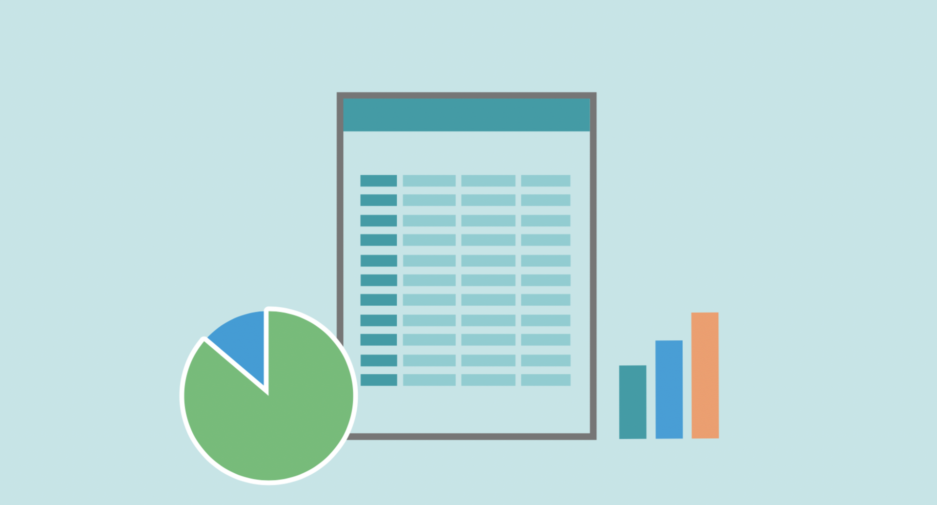 spreadsheets and bar graphs on a teal background