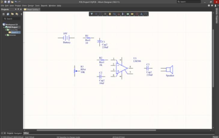 Creare uno schematico di un amplificatore audio