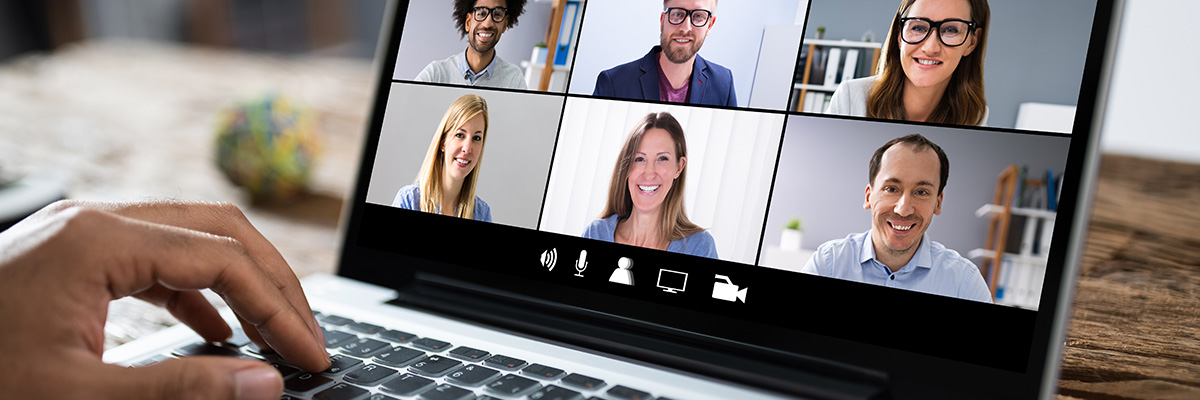 Computer screen showing a video conferencing call