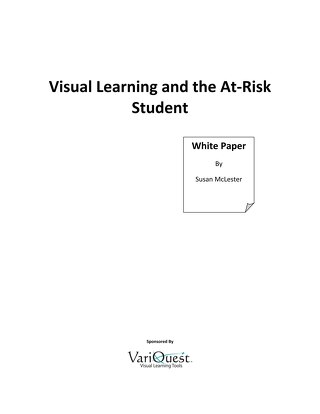 Visual Learning and the At-Risk Student