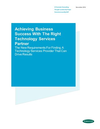 Achieving Business Success with the Right Technology Services Partner
