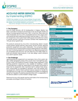 ACCU-FLO Meter Services: Increasing Profitability