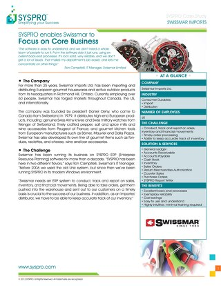 SYSPRO enables Swissmar to Focus on Core Business