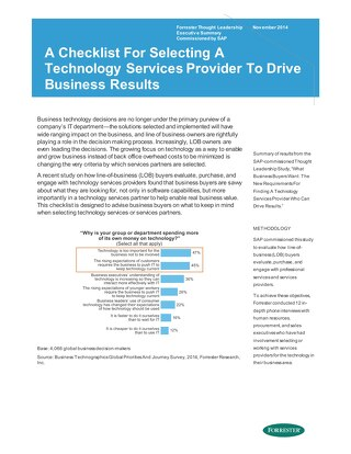 A Checklist For Selecting A Technology Services Provider to Drive Business Results