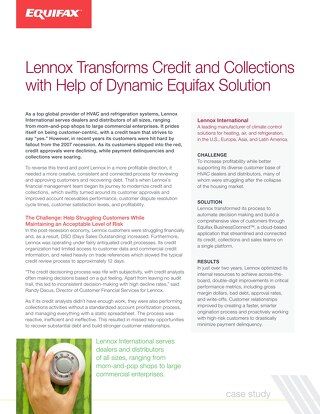 Case Study: Lennox Transforms Credit and Collections with Help of Dynamic Equifax Solution