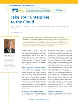 Take your Enterprise to the Cloud