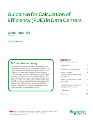 WP 158 - Guidance for Calculation of Efficiency (PUE) in Data Centers