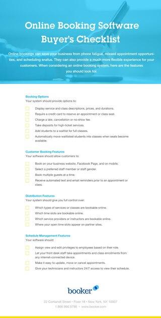 Buyer's Checklist: Online Booking Software