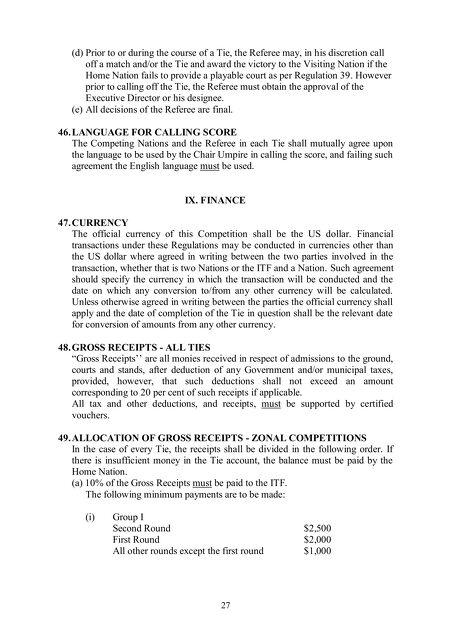 Itf 2015 Davis Cup By Bnp Paribas Rules Regulations