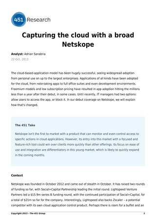 451 Research: Capturing the cloud with a broad Netskope