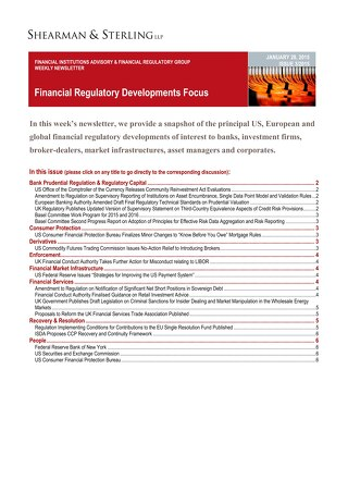 Financial Regulatory Developments Focus FIAFR 01282015