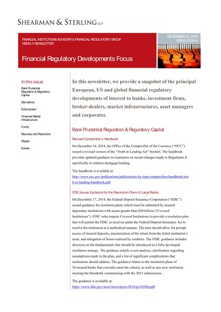 Financial Regulatory Developments Focus FIAFR 122314