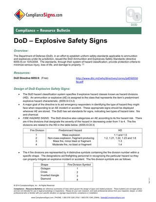 DOD - Dept. of Defense Hazard Signs