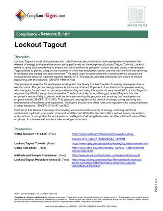 Lock-Out / Tag-Out Resources