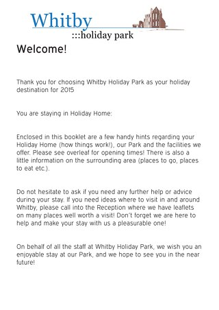 Whitby Welcome Pack