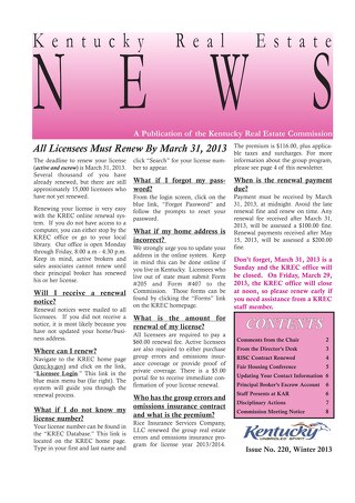 2013 KREC Newsletter 1