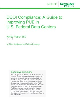 WP 250 – DCOI Compliance: A Guide to Improving PUE in U.S. Federal Data Centers