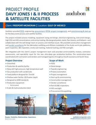 Davy Jones I & II Process & Satellite Facilities