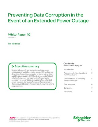 WP 10 - Preventing Data Corruption in the Event of an Extended Power Outage