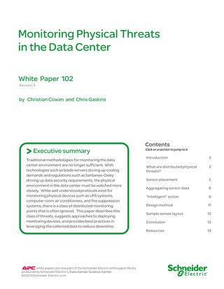 WP 102 - Monitoring Physical Threats in the Data Center
