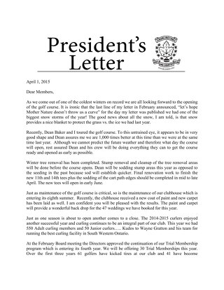 Presidents Letter ~ April 1 2015