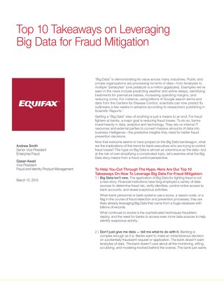 Top 10 Takeaways on Leveraging Big Data for Fraud Mitigation