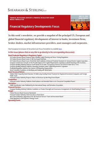 Financial Regulatory Developments Focus Issue 26 - July 21, 2015