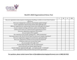 Workfit 2020 Organizational Stress Test