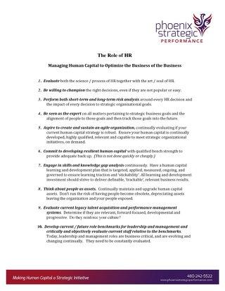 Managing Human Capital Checklist