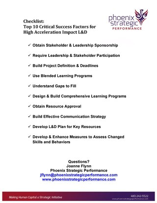 10 Critical Success Factors for High Acceleration Learning & Development