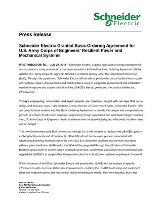 Schneider Electric Granted Basic Ordering Agreement for U.S. Army Corps of Engineers' Resilient Power and Mechanical Systems