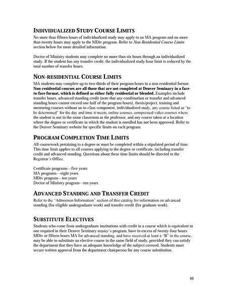Denver Seminary - Academic Catalog 2015-2016