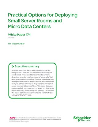 WP 174 - Practical Options for Deploying Small Server Rooms and Micro Data Centers