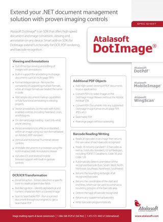 Atalasoft DotImage Product Spec Sheet