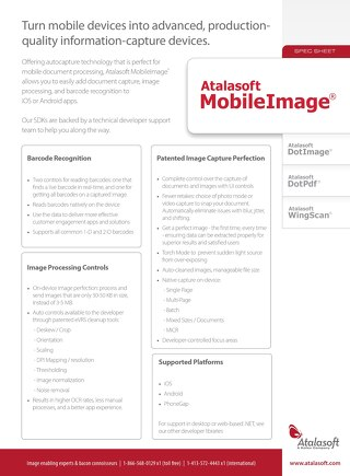 Atalasoft MobileImage Product Overview