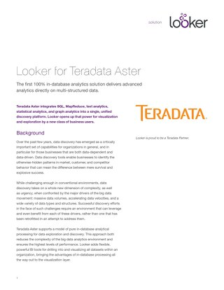 Teradata + Looker Data Analytics Overview