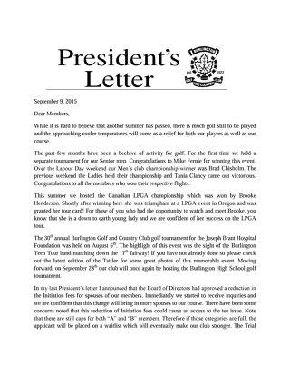 President's Letter ~ September 9th