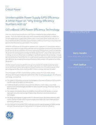 """Whitepaper: Uninterruptible Power Supply (UPS) Efficiency A White Paper on """"Why Energy Efficiency Numbers Add Up"""""""