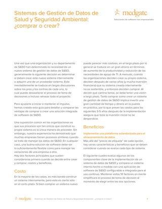 Sistemas de Gestión de Datos de Salud y Seguridad Ambiental: ¿comprar o crear?
