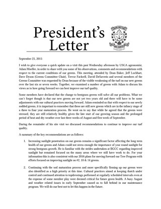 September 25th ~ President Letter re:Greens