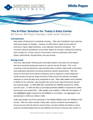 Sumitomo White Paper 8 Fiber Data Center Solution April 2015
