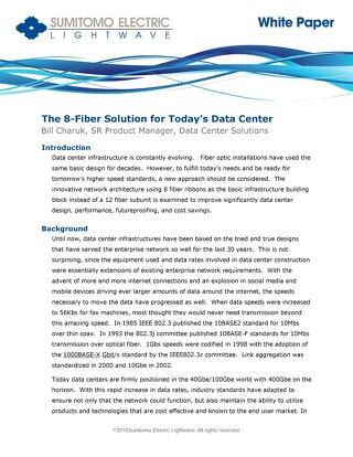 Sumitomo White Paper 8 Fiber Data Center Solution April 2015