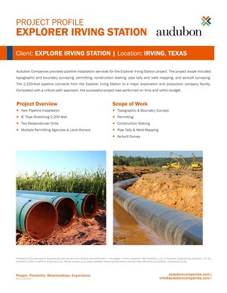 Project: Explorer Irving Station Pipeline Installation Services