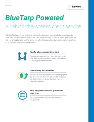 BlueTarp Powered fact sheet