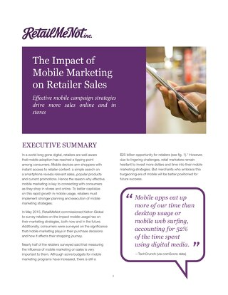 The Impact of Mobile Marketing on Retailer Sales