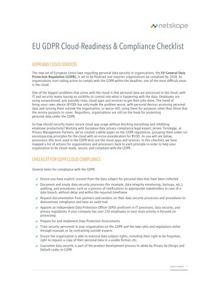 EU GDPR Cloud-Readiness & Compliance Checklist