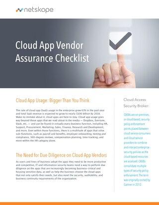Cloud App Vendor Assurance Checklist