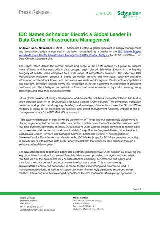 IDC Names Schneider Electric a Global Leader in Data Center Infrastructure Management