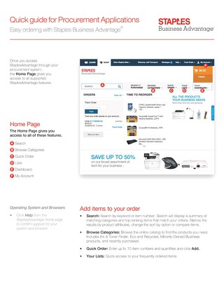 StaplesAdvantage.com Quick Reference Guide