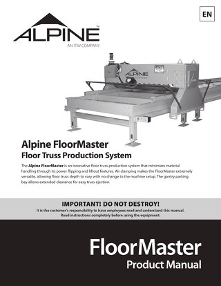 FloorMaster Product Manual
